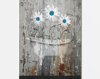 Rustic Modern Farmhouse Bathroom Pictures, Teal Daisy Flowers, Bathtub, Country Vintage Decor,  8x10 inch print matted to 11x14 White Mat