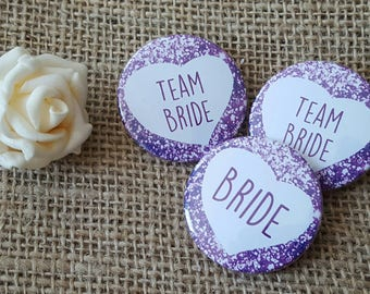 38mm (1.5inch) Size - Quirky Heart Hen Do Badges / Hen Party Badges / Wedding / Team Bride Badge (A Set) - Purple Printed Glitter