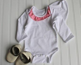 Girl's Ruffled Onesie - Ruffled Baby Shirt - Bodysuit - Baby Shower Gift - Onesie - Dazzling Droplet in Pink Knit - Made 4U Handmade Designs