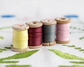 Set of 4_cotton sewing threads_wooden thread spools_yellow grey gray_pink rose_bordeaux claret red marsala_pure cotton threads_retro spools