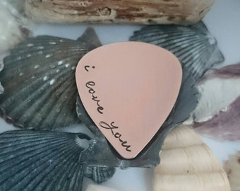 i love you - Hand stamped copper plectrum - Personalised Pick - Copper guitar pick - Copper Anniversary Gift - 7 years - Valentines 2016