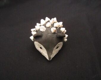 Handmade Raku Hedgehog Figurine