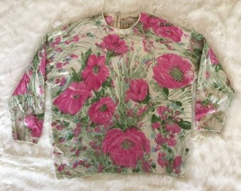 Vintage 1950's 1960's Angelon by DARLENE French Angora rabbit hair Sweater Top flowers hand-screen print