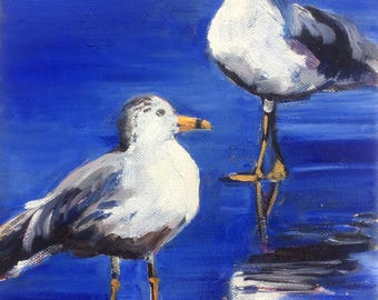 2017 SPRING STUDIO SALE : 8x10 Oil Painting of two seagulls