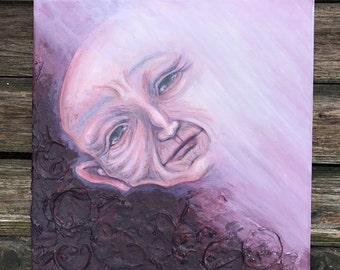 Old Soul - Acrylic Painting, Mixed Media, Texture, Acrylic on Canvas, Baba Yaga, Wizard, Elder