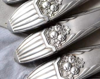 RESERVED French silver plated cutlery, Art Deco silver plated forks and spoons