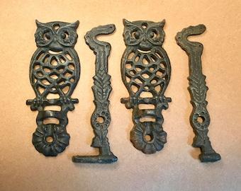 Pair of Iron Owl Swing Hook Lantern / Coat Hanger (damaged)