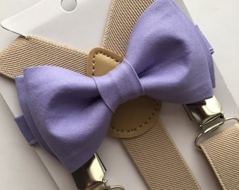 Kids Beige/Cream Suspenders. Lavender Bow Tie Set. Purple Bow Tie Set!