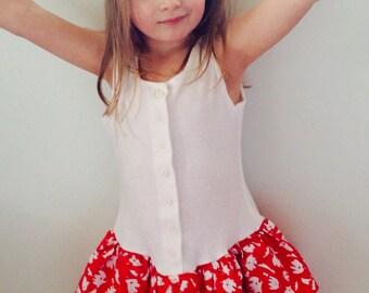 80's girls red & white dress size medium
