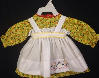 Dress and Apron for 25 inch Raggedy Ann Doll;Yellow Dress with Red, Blue, and White Flowers, and Embroidered Apron