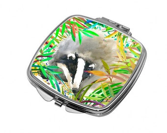 Compact Mirror with a badger for handbag or pocket. Woodland animals badger gift. M39