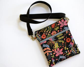 Black Crossbody Purse for women, Rifle Paper Co Purse, Small Messenger Bag, Floral Cross Body Bag, Mothers Day Gift for her, Small Sling Bag