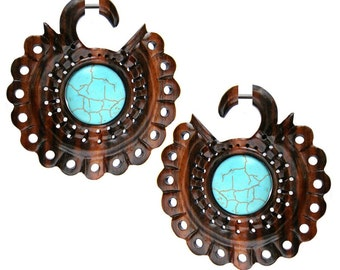 Abanico ..Fake Gauges, Handmade, Wood Earrings, Cheaters, Organic, Plugs, Split, Tribal Style