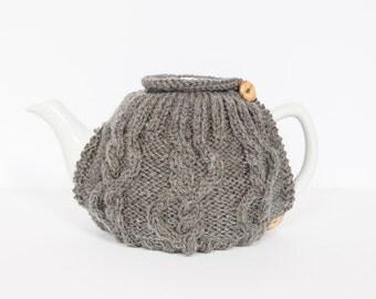 Grey hand knit tea cosy - Teapot cosy - Wool tea cosy - Teapot cover & warmer - Vintage tea cosy - Retro tea cosy - Tea lover's gift