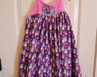 Girls summer pineapple dress, twirl dress.