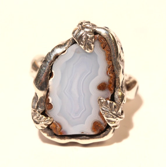 chalcedony sapphire ring sterling silver handmade