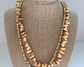 Tropical double beaded necklace