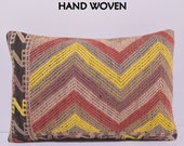 16x24 oriental kilim pillow floral throw pillow yellow decorative pillow embroidered pillow bohemian pillow sham large floor pillow red E637