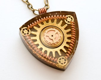 Steampunk Pendant / Necklace Gears , Cogs and Copper Springs in Resin,   Reuleaux triangle, Bronze Chain