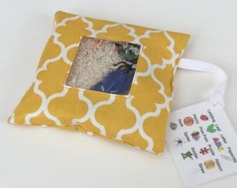 I Spy Bag - Mustard Quatrefoil Fabric