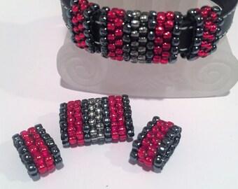SALE: 3pc Handmade Beaded Tube Set, 10mm Flat Leather, 6mm round, Versatile, Metallic Hematite and Red,