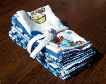 Upcycled cloth wipes, Family Cloth, Baby wipes, washable toilet paper,  15pk ( single layer)