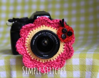 Pink Flower Camera Lens Buddy - Crocheted Lens Helper