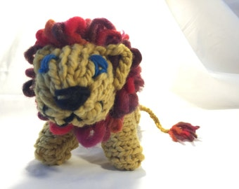 Hand-knit Lion ~ Hand-spun, Plant dyed Yarn ~ Natural Toy ~ Stuffed Animal ~ Waldorf Toy