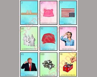 Political Loteria Card V9 - Anti-Trump Greeting Card Art - Donation to ACLU