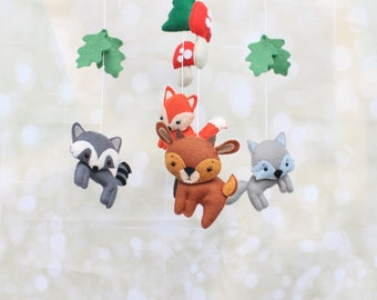 Woodland mobile forest animals felt crib mobile baby mobile deer mobile bear mobile fox mobile custom mobile forest mobile woodland animals