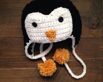 Penguin Hat Crochet Preemie - Adult