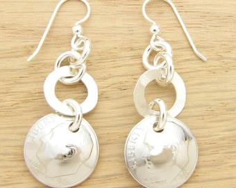 For 50th: 1967 US Dime Earrings with Silver Rings 50th Birthday Gift or 50th Anniversary Gift Coin Jewelry
