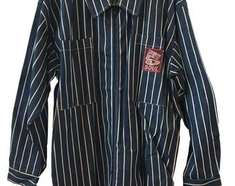Vintage Triple 5 Soul Denim Stripe Chore Coat XL 555 Soul Blue White