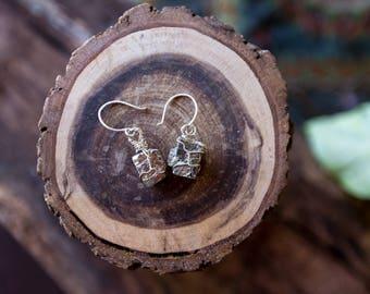 Pyrite Raw Crystal Drop Earrings (sterling silver)
