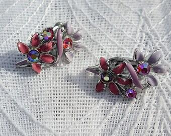 Pink & Lilac Enamel Jewelcraft Clip Earrings - AB Rhinestones