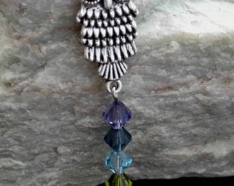 Owl Chakra Necklace Swarovski crystals
