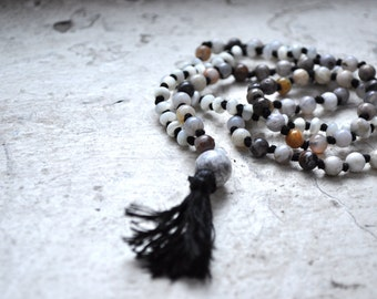 mixed gemstone + black  tassel mala beads