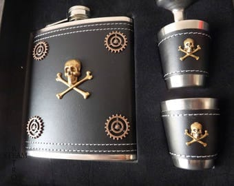 10% off sale17 Skull and bones flask and cup set - mens steampunk gift - pirate flask - biker flask - skull and bones flask -steampunk flask