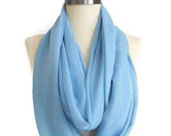 Light Blue Scarf Blue Scarf Chiffon Scarf Lightweight Soft Light Blue Infinity Scarf,  Circle Scarf, Women Accessories