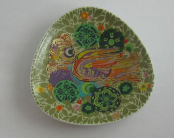 Rosenthal Germany studio-line. Small porcelain dish / bowl. Decor FIRE BIRD. Design Bjorn Wiinblad. Size approx. 11.7 cm. VINTAGE