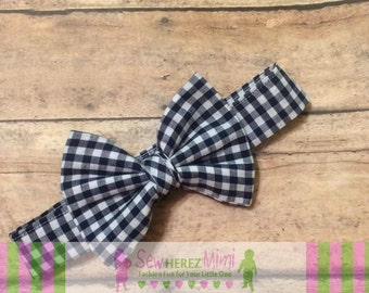 NAVY BLUE Gingham Bow Tie Sizes Infant, Child, Youth, Adult