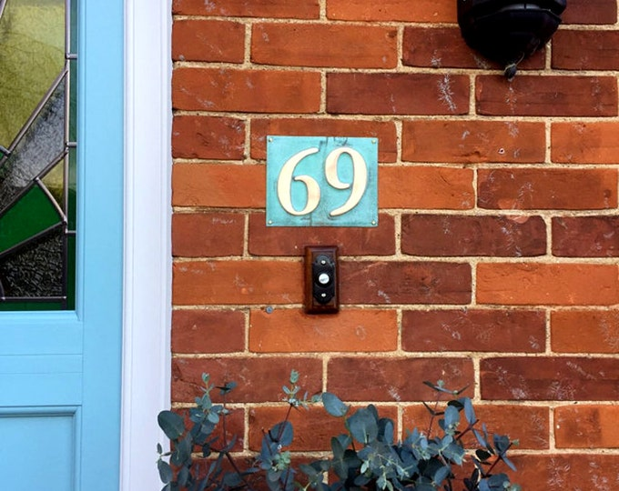 "Eco Gift Present 3""/75mm or 4""/100 mm House numbers in patinated copper, polished and laquered, 2 x numbers o"