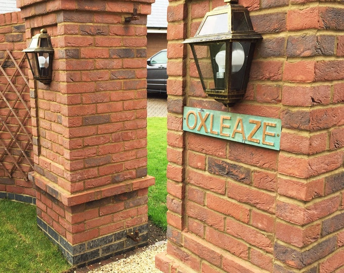 "Copper House Address Plaque in 3""/75mm high CAPITALS,  - plywood backed,  Antigoni font,  patinated, polished and  laquered g"