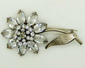 Vintage Schrager Clear Rhinestone Flower Brooch