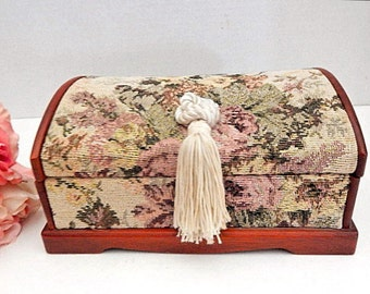 Jewelry Box Floral Tapestry Compartment Dresser Top Jewelry Storage Red Plush Interior Ring Slots Vintage Home Decor