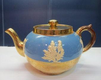 Vintage Gibsons Staffordshire England Blue & Gold Teapot W / White Jasperware