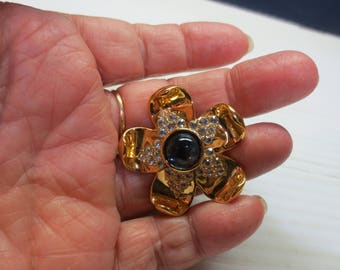 Vintage Napier Gold Tone Flower Brooch Pin With Blue Stone