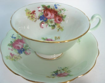 Green Foley Tea cup and saucer set, E.B. Foley teacup and saucer, Floral Bouquet on Mint Green set.