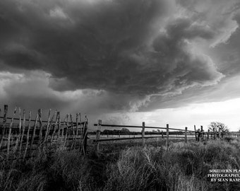 Black and White Art, Western Photography, Ranch Print, Farm Art, Western Storm, Photography Decor, Pictures of Ranch, Cowboy Gift, Old Fence