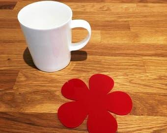 Daisy Shaped Red Gloss Finish Acrylic Coasters